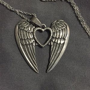 Handmade heart with angel wings necklace